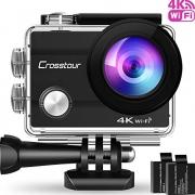 Crosstour Action Cam 4K WiFi Sports Kamera Helmkamera 30M Unterwasserkamera